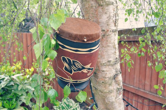 african drum in aberdeenshire garden