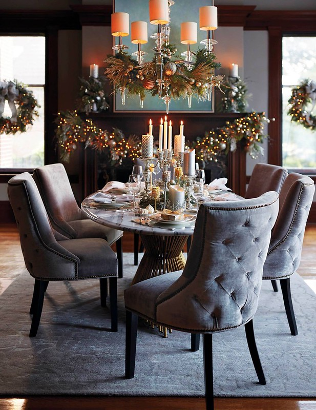 Glam Holiday Table Setting | Candle Centerpiece | Christmas Mantle Decorations & Simple Holiday Table Settings - Living After Midnite