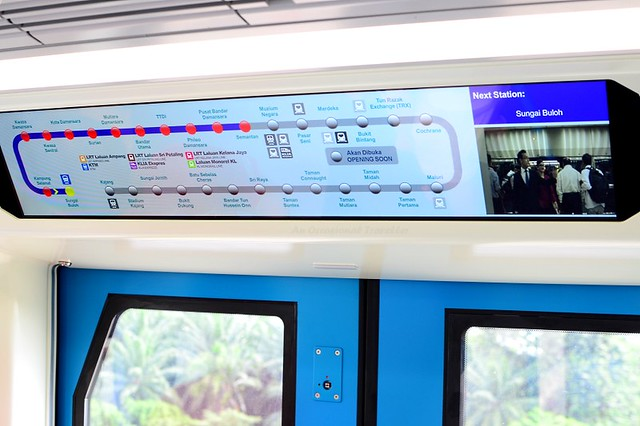 Train's route digital screen display (it also indicates which side of the doors will open upon reaching a station)
