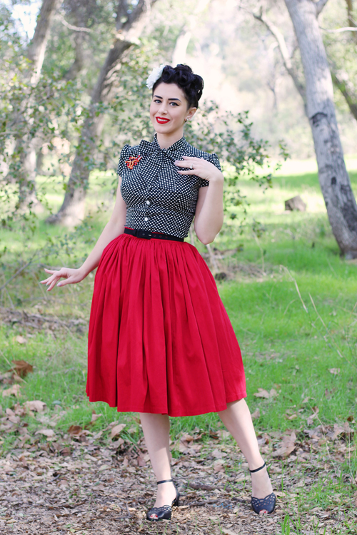 Heart of Haute Estelle Blouse in Subtle Valentine Print Pinup Girl Clothing Pinup Couture Jenny Skirt in Red Sateen Erstwilder Octavious the Octo Scribe Brooch