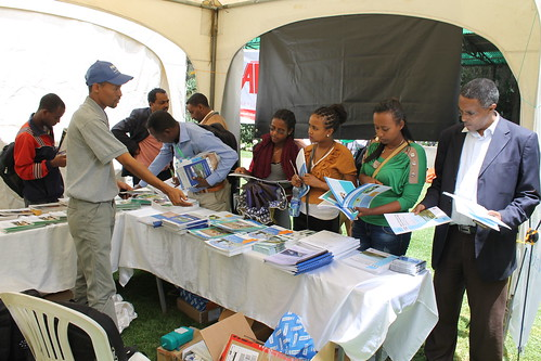 Dessalegn Tadesse (Communication and Uptake Officer IWMI) responding to questions on the activities of LIVE-IWMI at the annual 2nd Earth Day, June 6th 2015