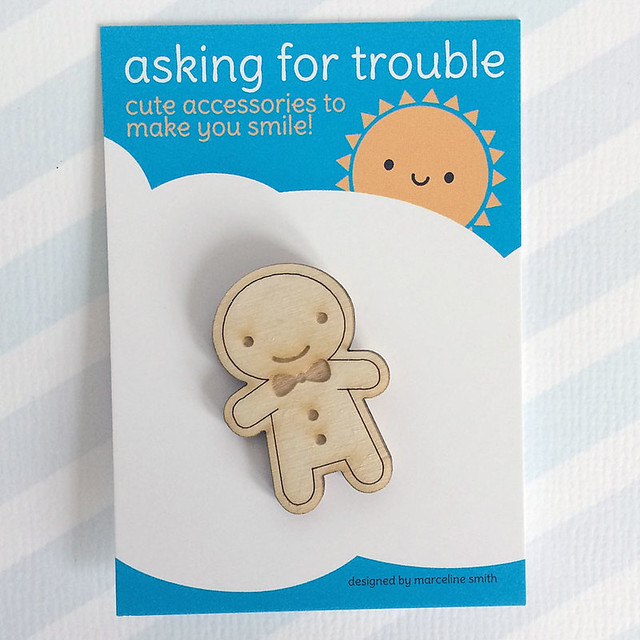 Happy Gingerbread Man Wooden Brooch