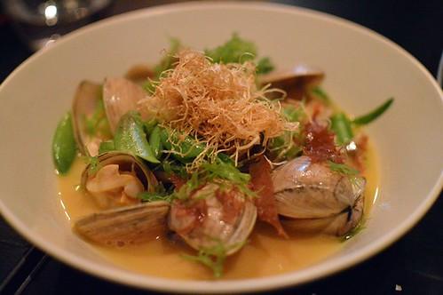 Sakamushi clams, prawns, sake & warrigal greens