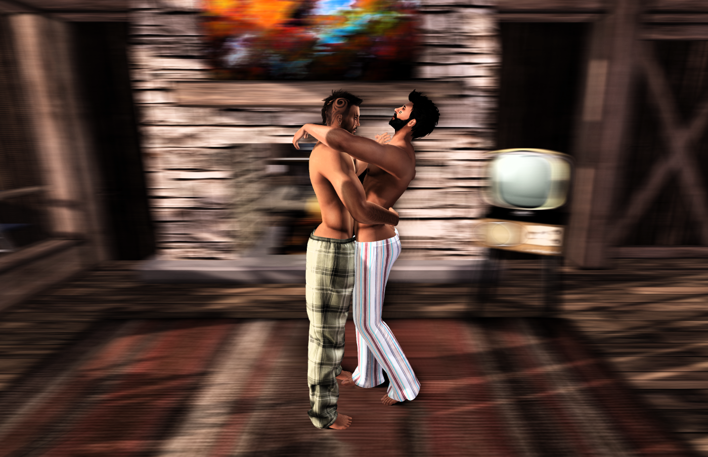 Randy and Ricco dancing at home