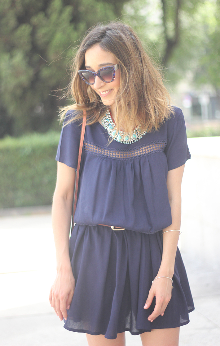 Blue dress Sheinside Wedges summer outfit21