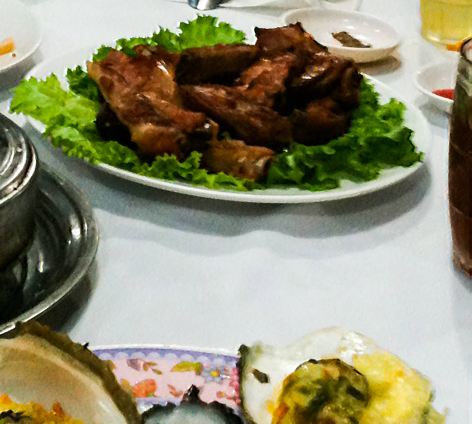 grilled pork ribs with salt and chili (Suon non nuong muoi ot)