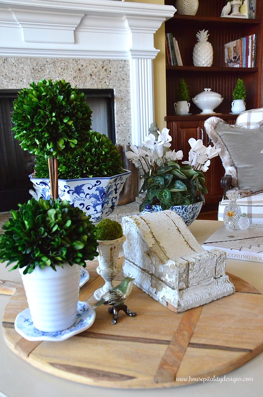 Preserved Boxwood topiaries-Vignette-Blue and White-Housepitality Designs