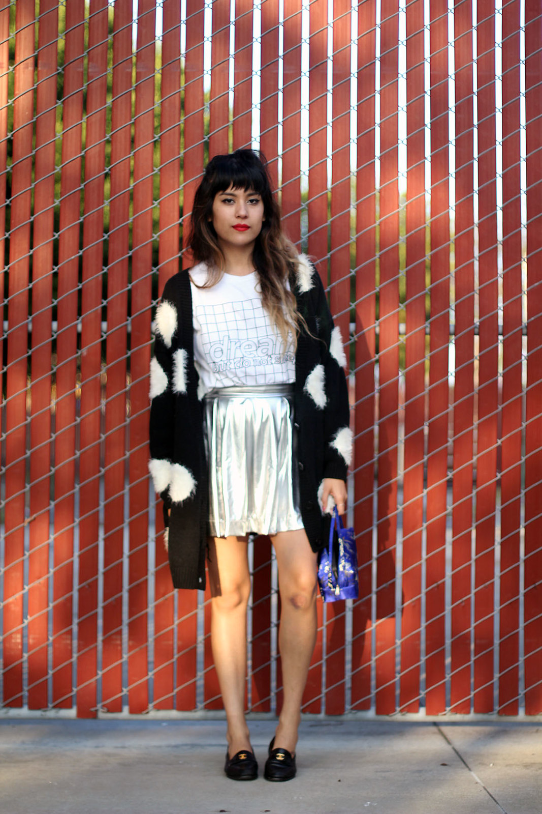 Dream but do not sleep shirt, Nasty Gal polka dot cardigan, Metallic skater skirt, Vintage Chanel loafers