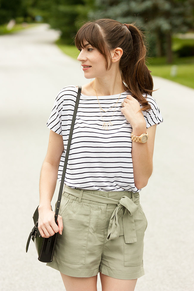 Striped Tee, Gap Tie Shorts, Stella and Dot Necklace, Jord Watch