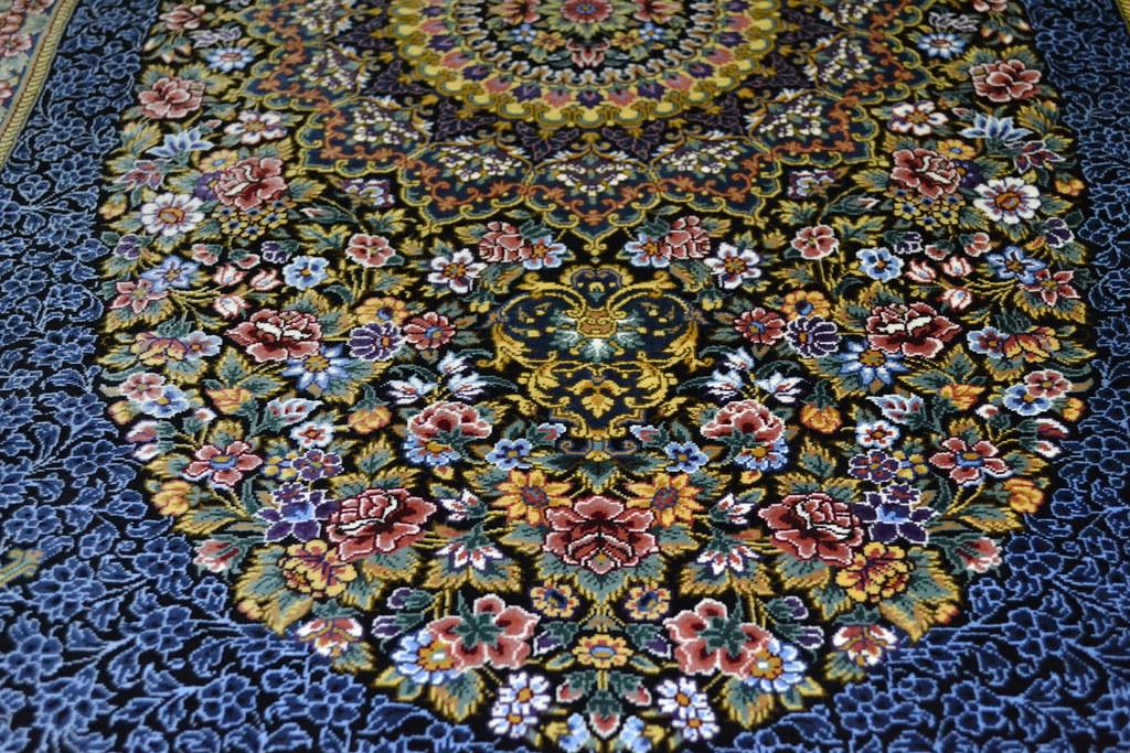 Qum Pure Silk Persian Rug Blue 3x5 Masterpiece 1000 KPSI (2)