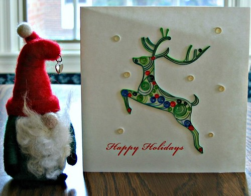Quilled Reindeer Card and Felted Gnome