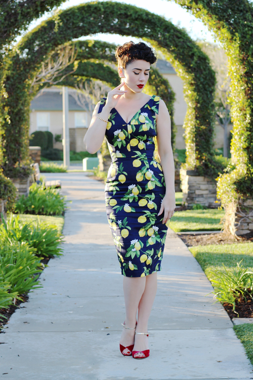 The Pretty Dress Company Ava Lemon Print Pencil Dress