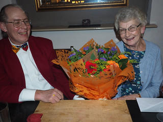 Dorothy is presented with flowers from Dalton ringers.