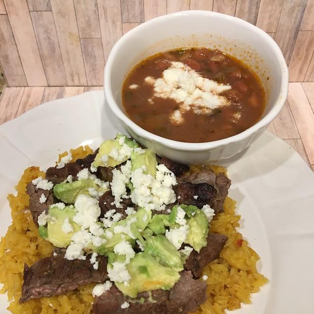 Carne Asada w/ rice and charro beans