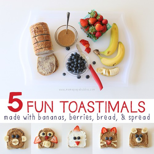 Toastimals Made with Bananas, Berries, Bread, and Spread (Photo from Mama. Papa. Bubba)