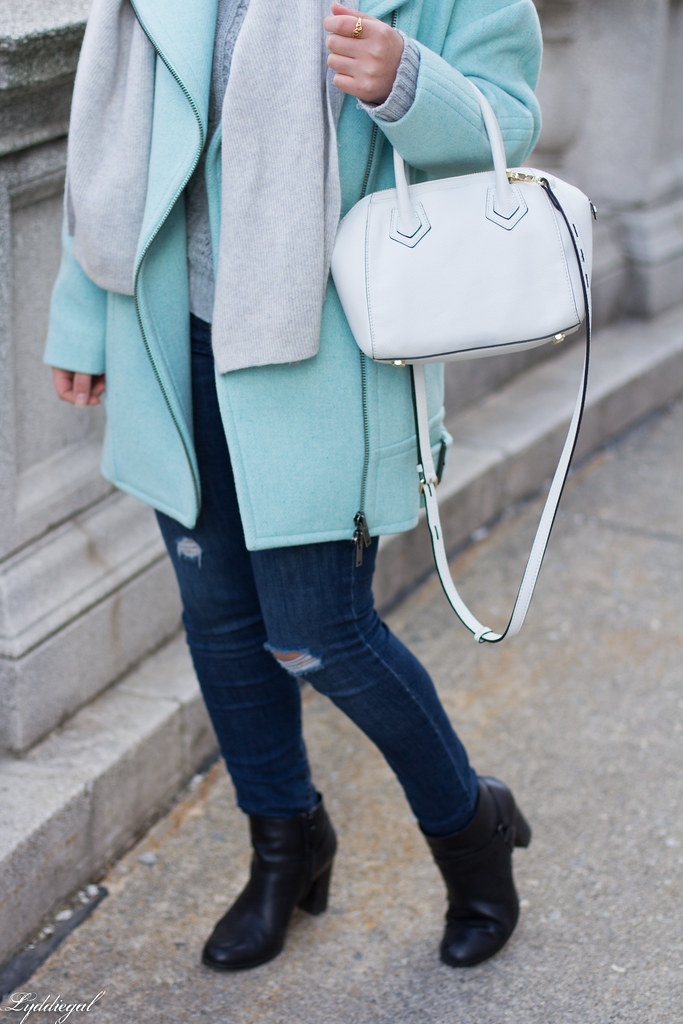 mint green cocoon coat, grey sweater, scarf, white bag-4.jpg