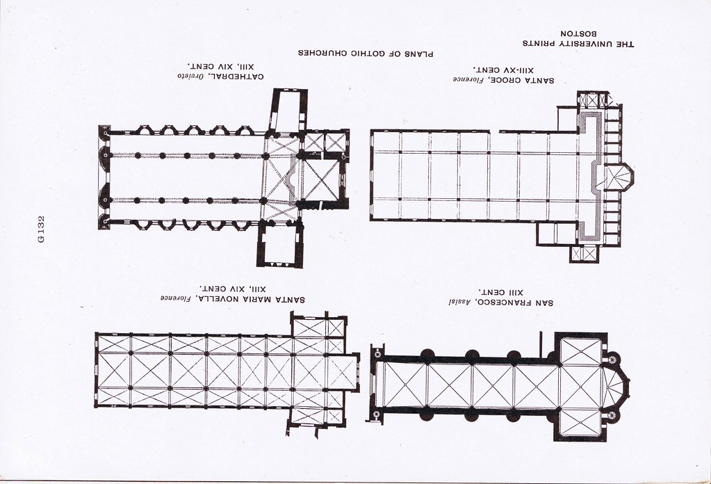 G 132 Plans Of Gothic Churches San Francesco Santa Maria Novella Croce