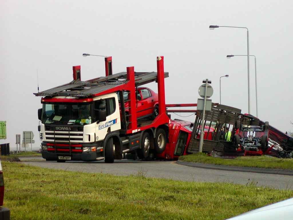 Car Transporter with Trailer Overturned | This was taken ...