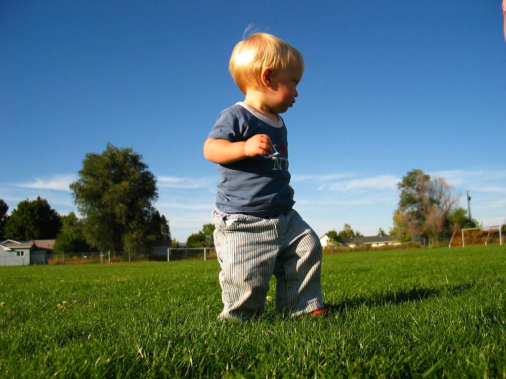 Little guy big field walking across a soccer field could