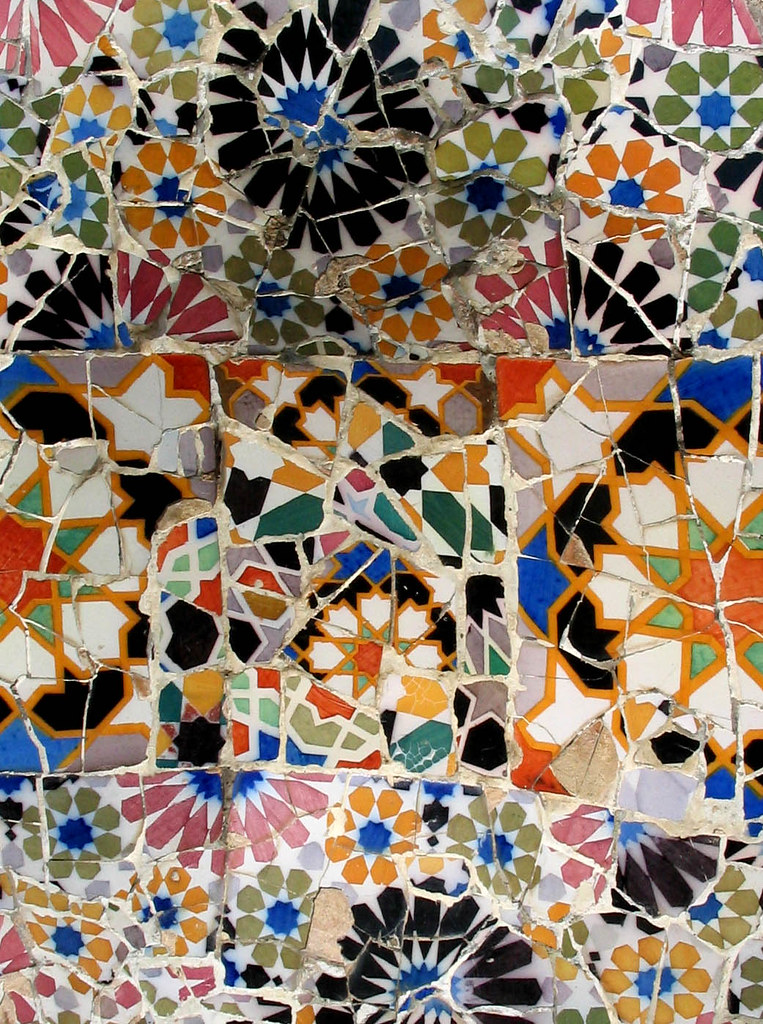 detail from a gaudi mosaic barcelona barcelona is a