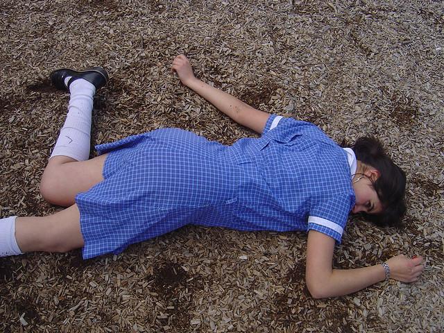 girls playing dead in socks