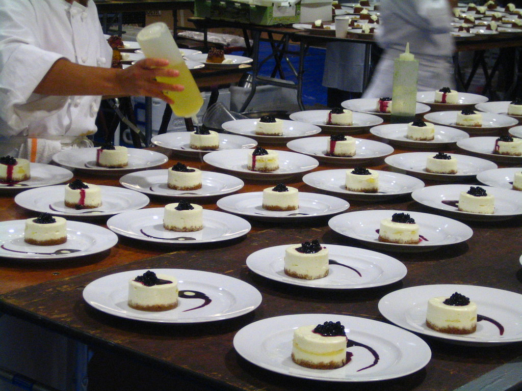 Plated Cake With Pastry Cream And Tulle