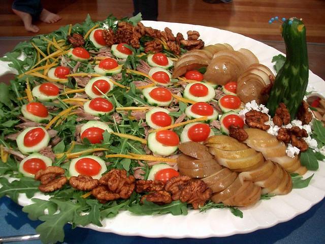 Duck confit poached pear rocket and fetta salad with va for La comida tipica de francia