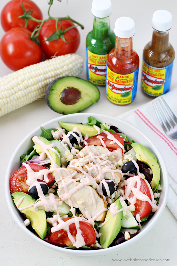 Turn up the heat and flavor with this Spicy Southwest Chicken Salad! It makes a quick and healthy dinner idea! #KingOfFlavor #ad