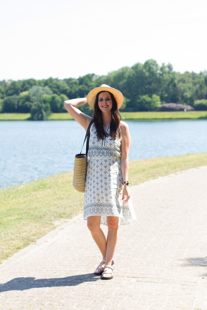 outfit: geometric print sundress, panama hat, straw bag