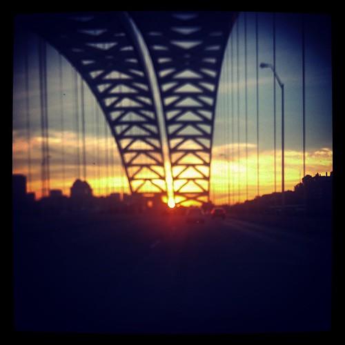 Crossing the #BigMacBridge at dusk.