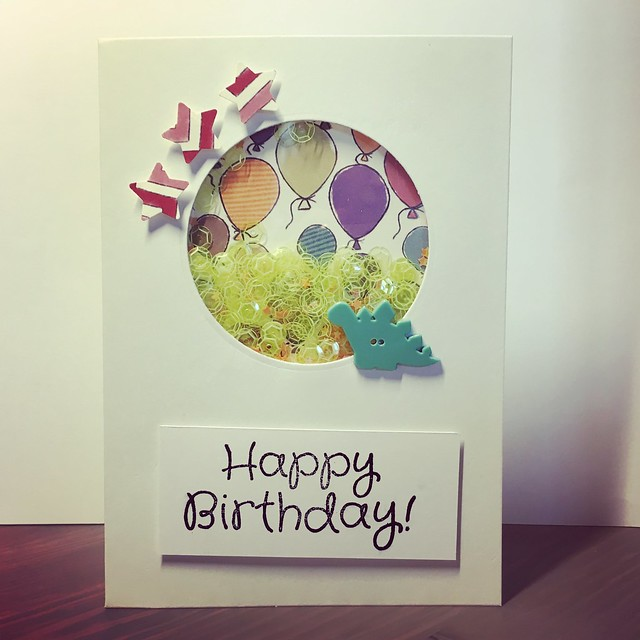 StickerKitten Birthday Dinos cards with a modern twist - shaker cards