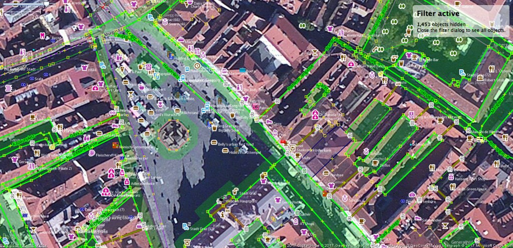 Data overlaid with satellite imagery