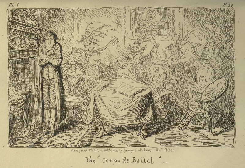 "George Cruikshank - ""The Corps de Ballet"" Illustration from ""Letters On Demonology And Witchcraft"" by Walter Scott, 1830"