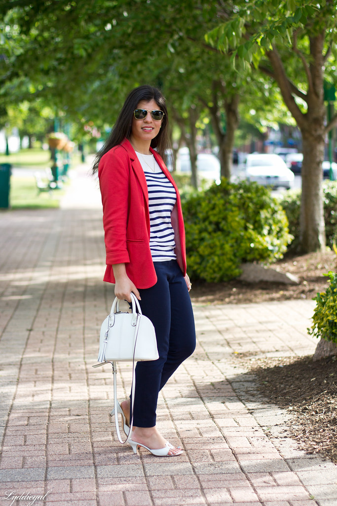 red blazer, striped shirt, navy trousers, white bag-2.jpg