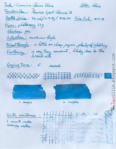 Diamine China Blue on photocopy