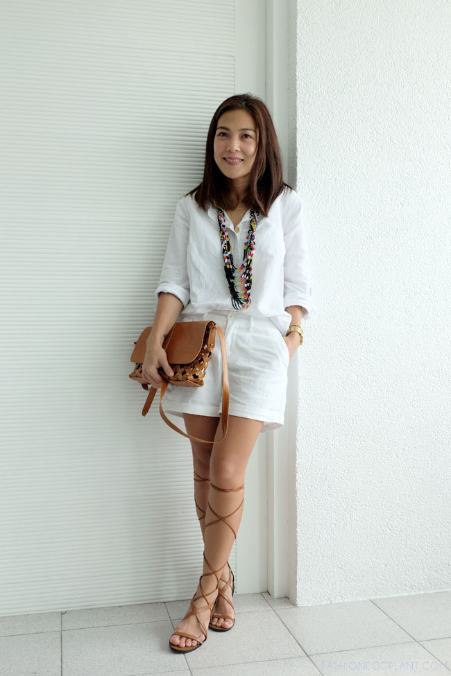 ALL WHITE OOTD W GLADIATOR SANDALS