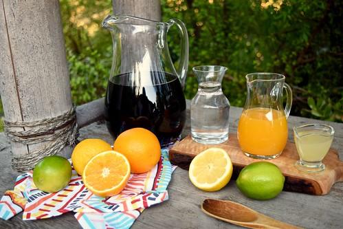 wine, club soda, orange and lemon juices