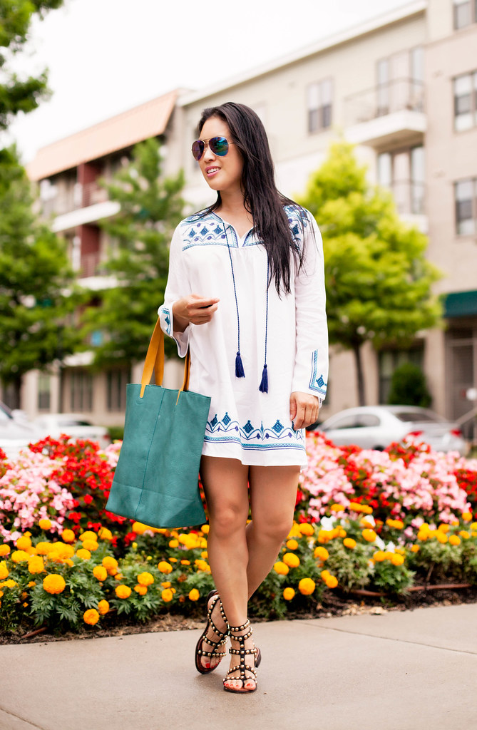 32a87753ca31 Embroidered Tassel Beach Cover-Up + Gladiator Sandals - cute ...