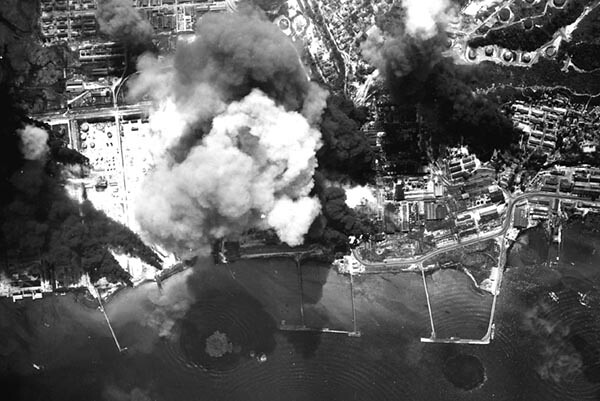 The 22nd Bomb Group bombs Balikpapan during WWII