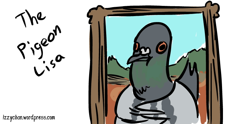 mona lisa pigeon parody