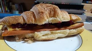 Vegan ham and cheese croissant
