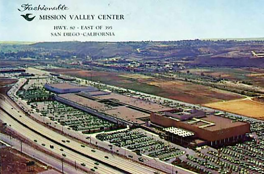 mission valley center post card