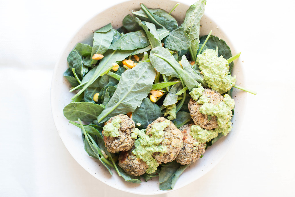 lentil meatballs with lemon pesto and kale salad