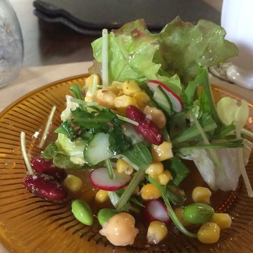 当別浅野農場スマイルポークのトンテキランチのサラダ at Brocante