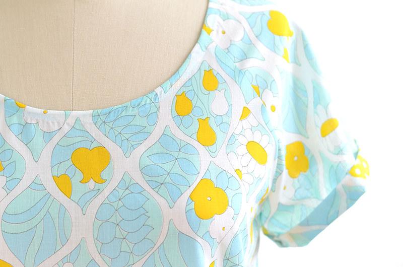 Raglan Woven Tee Handmade Vintage Fabric 3