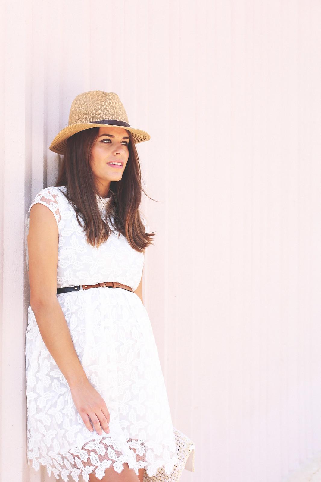 6. lace white short dress - jessie chanes - pregnancy
