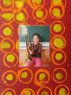 cadre photo abstrait et ronds - réalisation 1