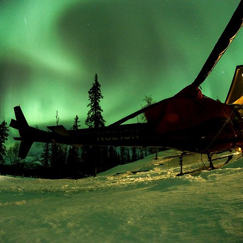 GoPro Featured Photographer - @clarkfyans Northern Lights Heli. We captured this images in Alaska with the night lapse mode set to a continuous 30 Exposure. ProTune was turned on with the ISO set at 800. #GoPro #northernlights #Alaska #nightphoto