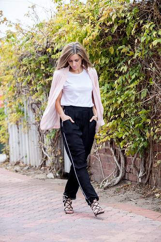 White t-shirt, pink blazer