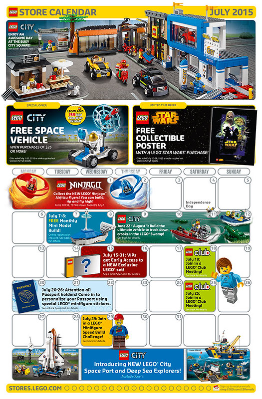 LEGO Shop July 2015 Calendar